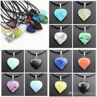 Cuerda Collares de cuero Joyería de declaración Cristales curativos baratos Corazón Luna Colgantes de piedra natural Collar de piedra