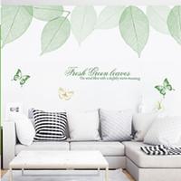 الطازجة الخضراء يترك فراشة جدار الشارات غرفة المعيشة جدار جدارية المشارك الفن اضافية كبيرة جدار زين ملصقات الديكور