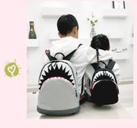 موضة حقائب الأطفال حقيبة شخصية القرش الأطفال المدرسية على ظهره الكرتون قماش مدرسة الطلاب الابتدائية الظهر 2 اللون