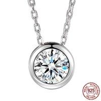 قلادة سحر 100٪ 925 حزب فضة قلادة الزفاف سلسلة Necalace للنساء 6MM مجوهرات الماس CZ الزفاف هدية X091