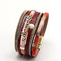 Multi-layer wrap lederen armband handgemaakte gevlochten magnetische sluiting manchet armband sieraden mama cadeau
