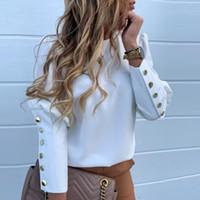 Moda Kadınlar Metal Düğme Gömlek Modelleri Bayan Casual O-Boyun Katı Baskı Bluzlar Artı boyutu XXXL Bahar Güz Giyim