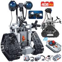 408 PCS 도시 창조 RC 로봇 전기 블록 건물 완구 솜씨 원격 제어 지능형 벽돌 조립 키즈
