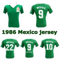 Jersey de football rétro de 1986 de la Coupe du Monde Mexique 86 Mexique Team National Hugo Sanchez Negrete Classic Vintage Shirt de football