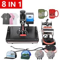 شحن مجاني 12x15 بوصة 8 في 1 آلة التسامي الحرارة الصحافة آلة الطباعة تي شيرت / حالة الهاتف / غطاء / لغز