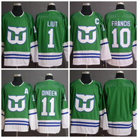 10 Ron Francis Hartford Whalers 2020 New Style Jersey 26 Ray Ferraro 1 Mike Liut 11 Kevin Dineen Uniforme Uniforme Hóquei Jersey
