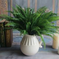 도매 45cm 높이 7 지점 녹색 가짜 살아있는 식물 꽃 장식 인공 페르시아 잎 잎 잔디 꽃 정원 장식
