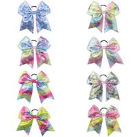 """Hot 8 """"Unicorn Print Sequin Cheer Bow for Girls Children Boutique Lint Haarbogen met Elastische Haarband Kids Haaraccessoires 10pcs /"""