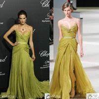 2020 Olive Alessandra Ambrosio Elie Saab Abendkleid Sexy Spaghetti Strap Lange Promi Tragen Besonderen Anlass Kleid Prom Party Kleider