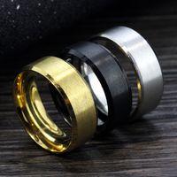 50pcs in acciaio anelli in acciaio oro-argento anello larghezza di 8mm nero per marchio di gioielli uomini donne di nuovo modo di trasporto di goccia