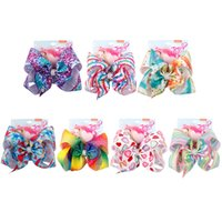8 inch Jo Bows Girls Sequins Striped Hair clips Baby Stars L...