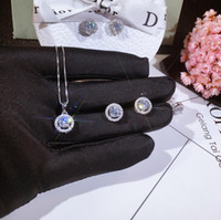 Set di gioielli di lusso Nuovo arrivo handmade 925 sterling argento rotondo taglio bianco topazio cz diamante pietre preziose per donna collana orecchino orecchino