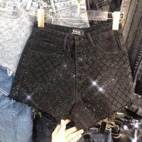 Nova moda das mulheres de cintura alta jeans strass patchwork shinny o que bling calções calças mais SMLXL tamanho