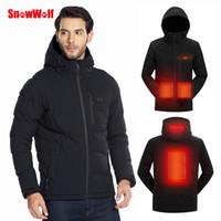 SNOWWOLF 2019 Homens Winter Outdoor USB infravermelho Aquecimento revestimento encapuçado elétrica Brasão para a escalada Sports Caminhadas Roupa térmica