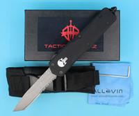 고품질 두개골 손잡이 A07 다마스커스 자동 전술 나이프 TANTO 하프 톱니 칼날 야외 생존 구조 EDC 포켓 나이프