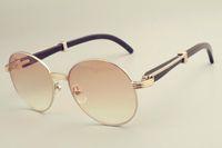 2019 nuovi occhiali da sole tondo vendita calda trasporto libero 19900692 occhiali da sole, parasole retrò della moda, corna nere naturali specchio gambe sunglas