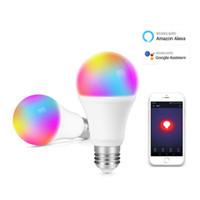 المصابيح الذكية LED WIFI LED لمبة ضوء 7W RGBCW Magic Light Bulbs الأنوار متوافقة مع Alexa Google Smart Home