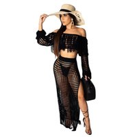Tampa mulheres Praia Vestidos Vintage Bikini Swimsuit Up malha Top Curto Dividir Saia Curta De duas partes Outfits