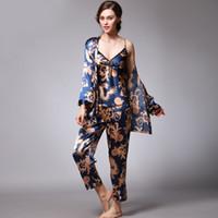 3 pièces ensemble de pyjama Set femmes lingerie sexy en satin de nuit pour les femmes Sous-vêtements de nuit Plus la taille Lounge Summer Set CX200703