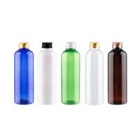 30pcs / lot 200ml esvaziar garrafas Ouro Prata Bronze de alumínio preto Screw Cap cosméticos garrafa de plástico redondo Para Toner Lotion Creme Shampoo