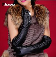 النساء الشتاء الفراء جلد طبيعي ناعم الأزياء الأرنب الدافئة جلد الغنم مثير محرك السيدات اضافية طويلة المشاهير حفلة موسيقية رقص الزفاف قفازات الزفاف