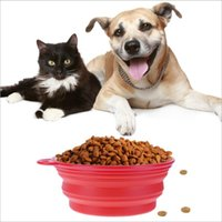 Dobrável Silicone Folding bacia cachorro Pet Feeding Dish curso do gato Dog Bowl Água Feeder dobrável exterior YSY252-L