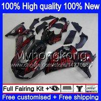 Kawasaki ZX-14R 2012 için Enjeksiyon 2013 2015 2015 2016 2017 25MY.44 ZZR1400 ZX 14R ZZR-1400 ZX14R 12 13 14 15 16 17 Red Flames OEM Fairing
