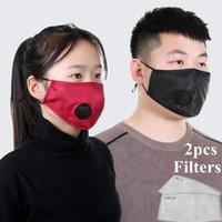 En stock Tissu design Masque poussière lavable Masques respirateurs réutilisables avec 2 pièces Coussin filtre de protection unisexe Masque bouche