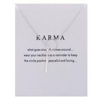 Colliers En Argent Et Or Karma Cercle Barres Verticales Pendentif Colliers Pour Femmes Bijoux De Luxe Cadeau (Avec Carte)