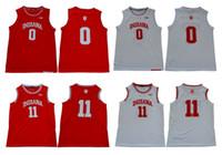 Indiana Hoosiers Jersey 0 Romeo Langford 11 Isiah Thomas Kırmızı Beyaz 100% Dikiş Koleji Basketbol Formaları En Kaliteli