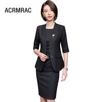 Abito da donna Slim summer Vestito da mezza manica dress Set da 2 pezzi OL Formal Business Abiti donna abiti da donna Set 6908