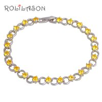 ROLILASON Yellow Crystal Bracelets for Women Round Design Si...