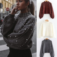 Fashion Luxury Women Winter Pearl Knitted Sweaters High Qual...