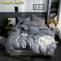 Подвесные комплекты Dream Dream Home Украсьте современные серые одеяла охватывает краткий стиль клетки с наволочкой 2 / 3шт король король
