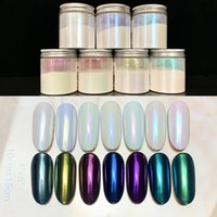 El color del clavo del brillo de la joyería arco iris de neón mágico polvo de cáscara de color sirena polvo de perlas espejo mágico espejo
