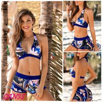 Sexy US Women Push-up Padded Bra Bandage Print Bikini Swimsuit 2019 New Summer Floral Halter Swimwear Bathing Suit Shorts S-2XL