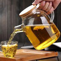 Bouilloire de théière en verre de théière en verre de grande capacité 1000ml / 1800ml avec le couvercle en bambou borosilicate 1pc