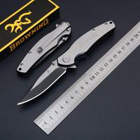 براوننج سكين كامل الفولاذ المقاوم للصدأ سكين للطي سكين جيب 56 HRC EDC التكتيكية بقاء العتاد