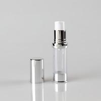 투명 바디 실버 볼트 5ml 플라스틱 바이알 에어리스 병 펌프, 화장품 크림 Airless 병 펌프 100pcs