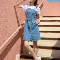 Vintage A- line Women Strap Denim Dress Female Single- Breaste...