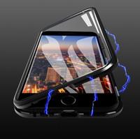 حالة الهاتف المغناطيسي ل iPhone12 11PRO 7 8 زائد X XR لسامسونج S20 حالة المغناطيس شفافة المضادة للورق الزجاج المقسى حالة
