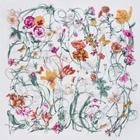 Neue Twill Seidenschal Frauen Mode Große Hijab Reben Blumendruck Quadrat Schals Schals Wraps Weibliche Foulard Bandana 130 cm * 130 cm