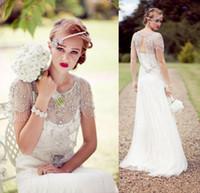 Vintage Great Gatsby Sparkly Crystal Beach Bröllopsklänningar Jenny Packham Cap Sleeve Country Open Back Bridal Gowns Vestidos de Novia