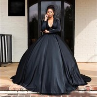 Gracioso preto uma linha vestidos de noite profunda vice-manga comprida frisada mais tamanho vestido formal cetim puffy saia vestidos de baile