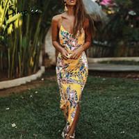 Simplee Backless çiçek baskı kolsuz seksi elbise askısı BODYCON yaz partisi elbise Bayanlar şık vestidos maksi plaj 2020