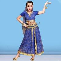 Desgaste de la etapa 2/3/5 / 8pcs Set Niños Ropa de baile para niños Muchacha Belly Practice Traje Performance Bollywood Traje