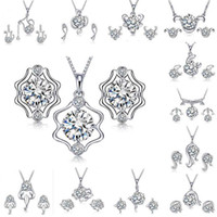 Silver Jewelry Sets Necklace Earrings Hot Selling Crystal Ea...