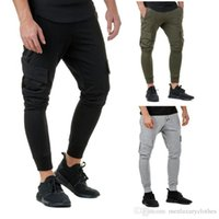 Mens Slim Fit Casual Pencil Pants Solid Color Pockets Jogger...