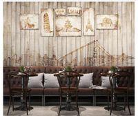 Personnalisé 3d papiers peints décor à la maison Photo mur papier peint peintures murales européen rétro vintage ville bâtiment planche bar café fond