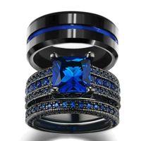 Paar Schmuck - Männer 8 mm Breite Blue Line-Streifen-Hartmetall-Ring Frauen-14K Schwarz Gold füllte natürliche Saphir-Wedding Band Ring